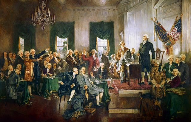 """cene at the Signing of the Constitution of the United States"""" by Howard Chandler Christy"""