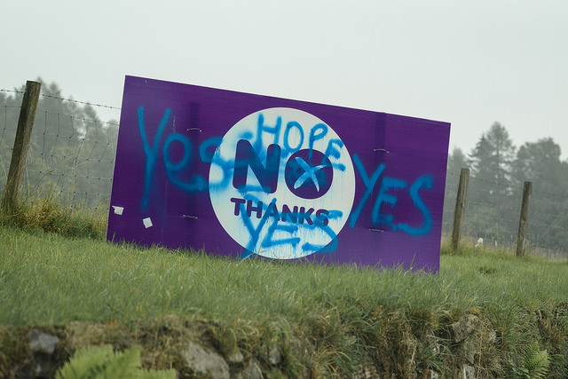 Vandalized No Thanks Sign in Scotland