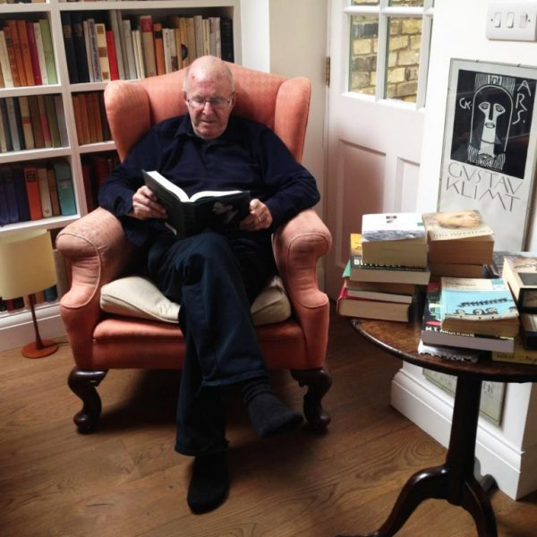 Clive James in his library, summer 2015