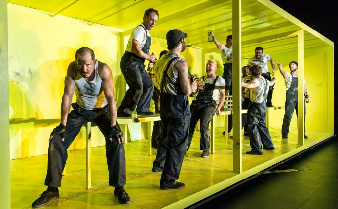 Bertie Carvel (Yank) and cast in The Hairy Ape at The Old Vic